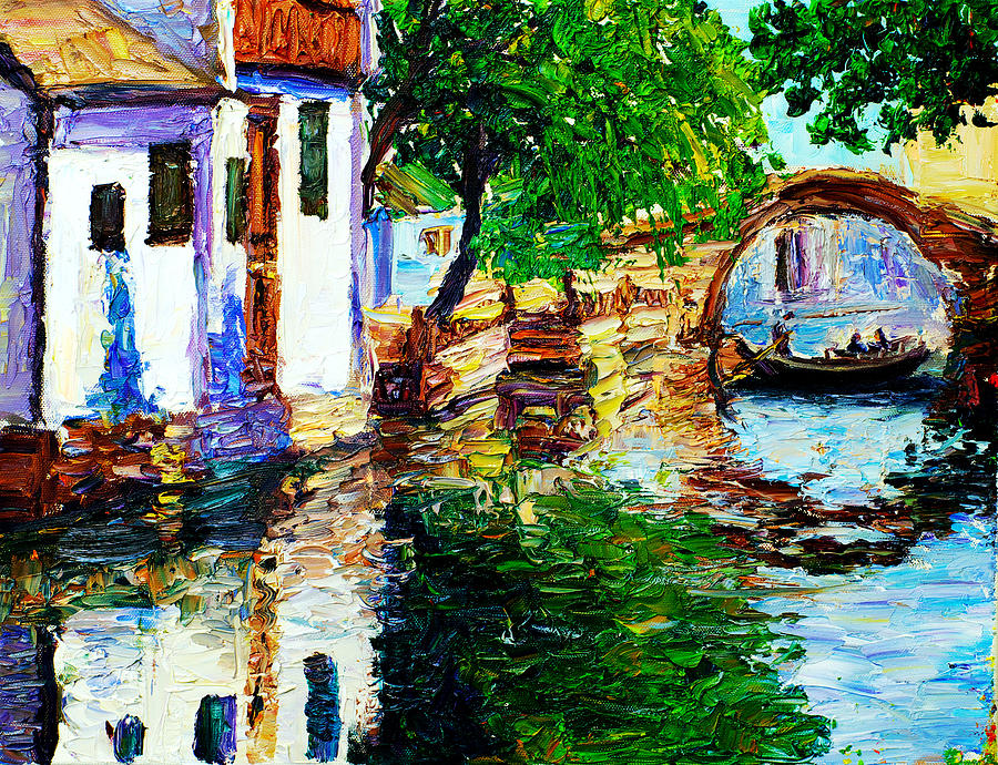 Landscape Painting - Town With Water Streets by Nelson
