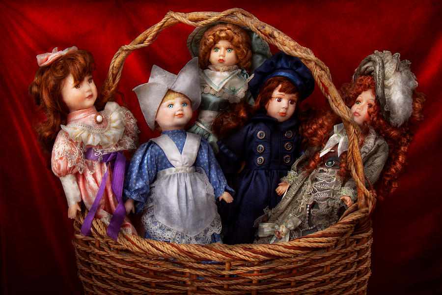 Children Photograph - Toy - Dolls - A Basket Of Victorian Dolls  by Mike Savad