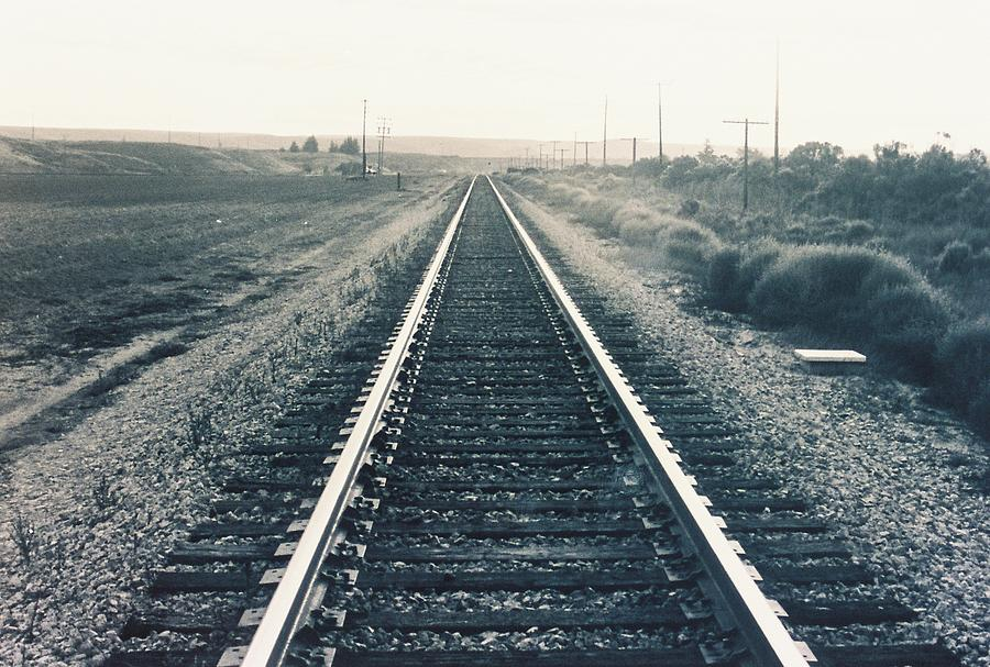 Rail Photograph - Tracks Bw by Trent Mallett