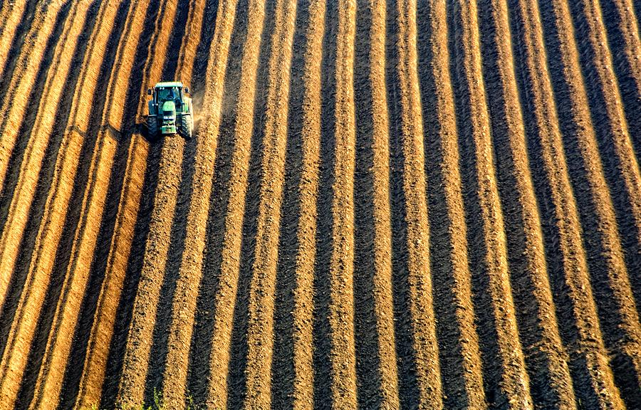 Agriculture Photograph - Tractor Plowing A Field by John Short