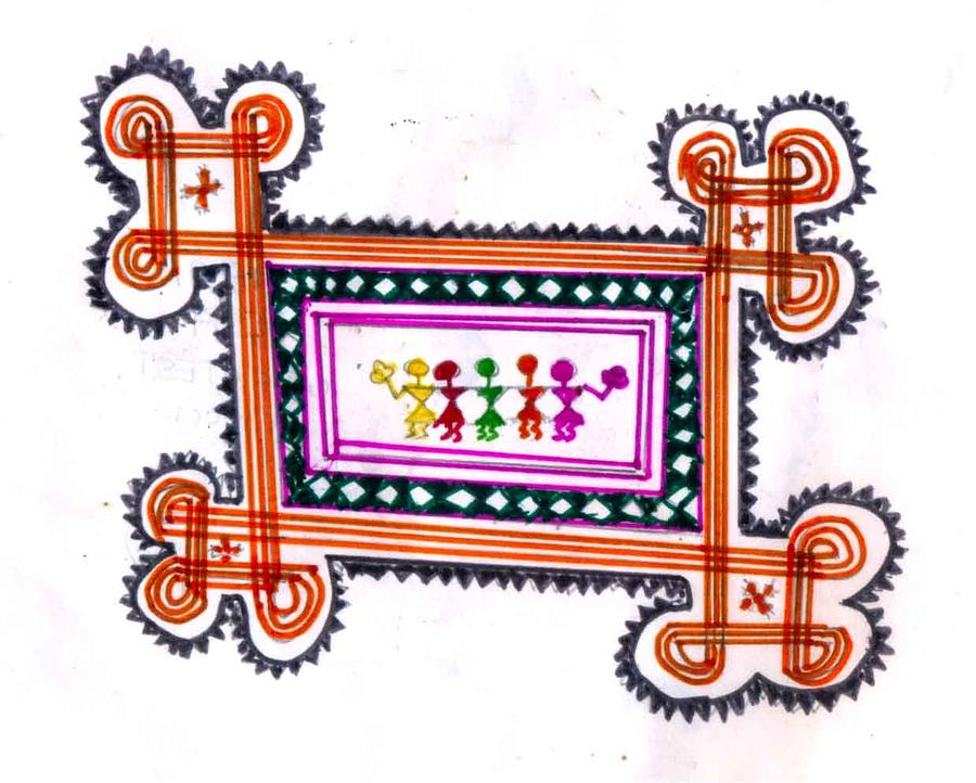 Sketch Drawing - Tradition Art-aunties In Rangoli by Poornima M