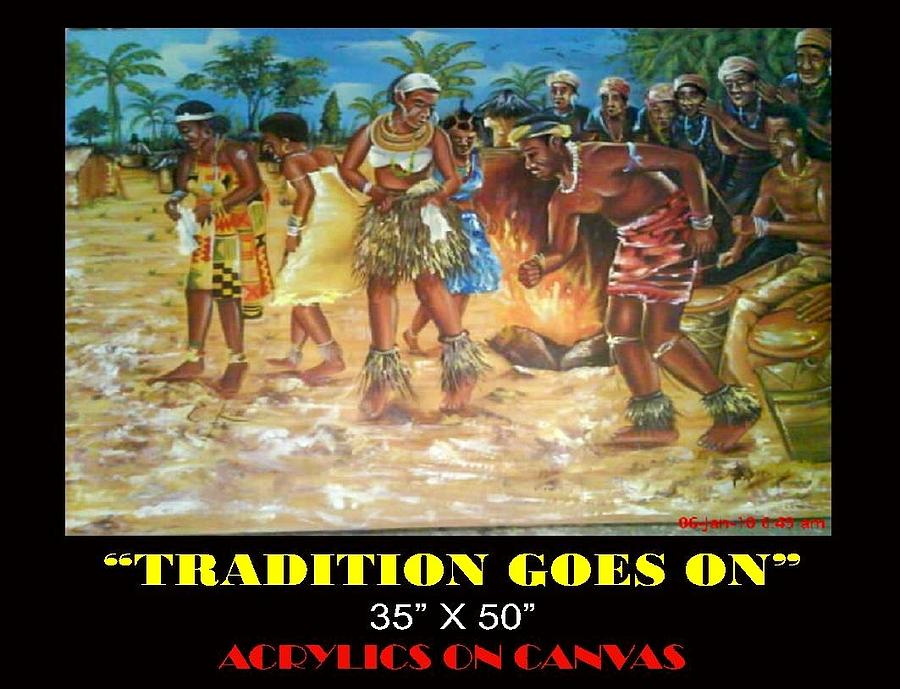 Tradition Goes On Painting by Clement Martey