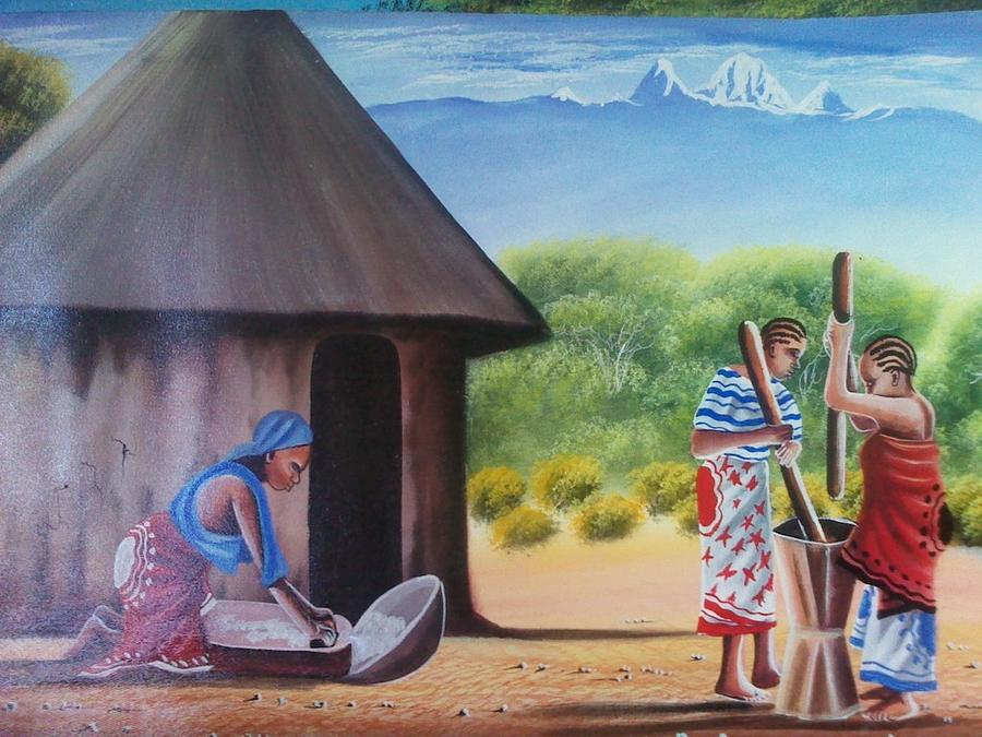 Traditional African Women Painting By John