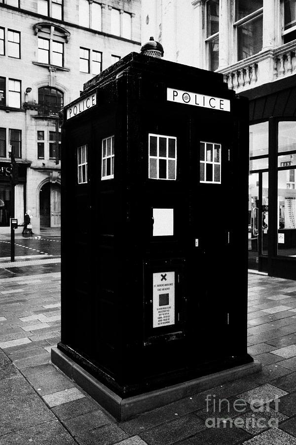 Traditional Photograph - traditional blue police callbox in merchant city glasgow Scotland UK by Joe Fox