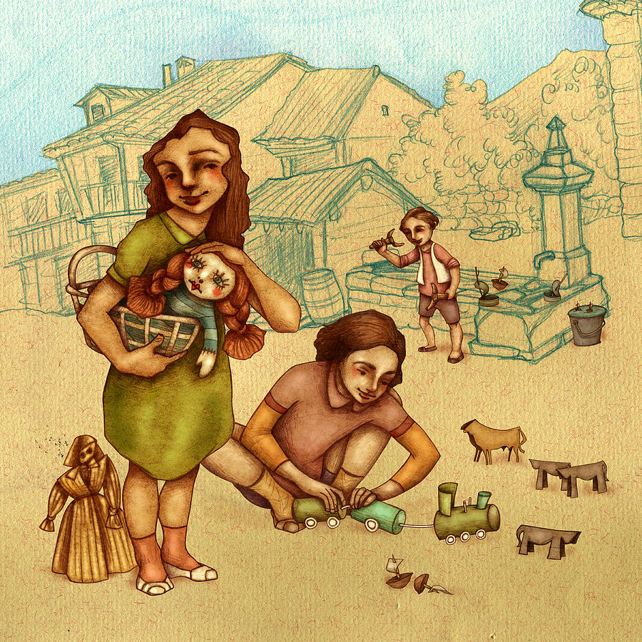 Illustration Painting - Traditional Game 3 by Autogiro Illustration