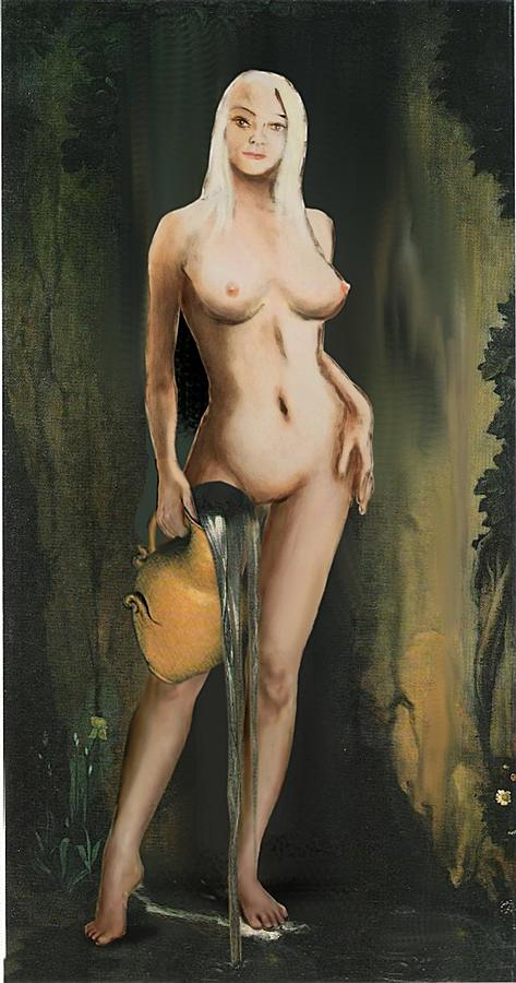 Image Painting - Traditional Modern Female Nude Standing by G Linsenmayer