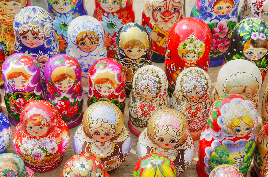 Horizontal Photograph - Traditional Russian Nested Dolls For Sale by Travelif