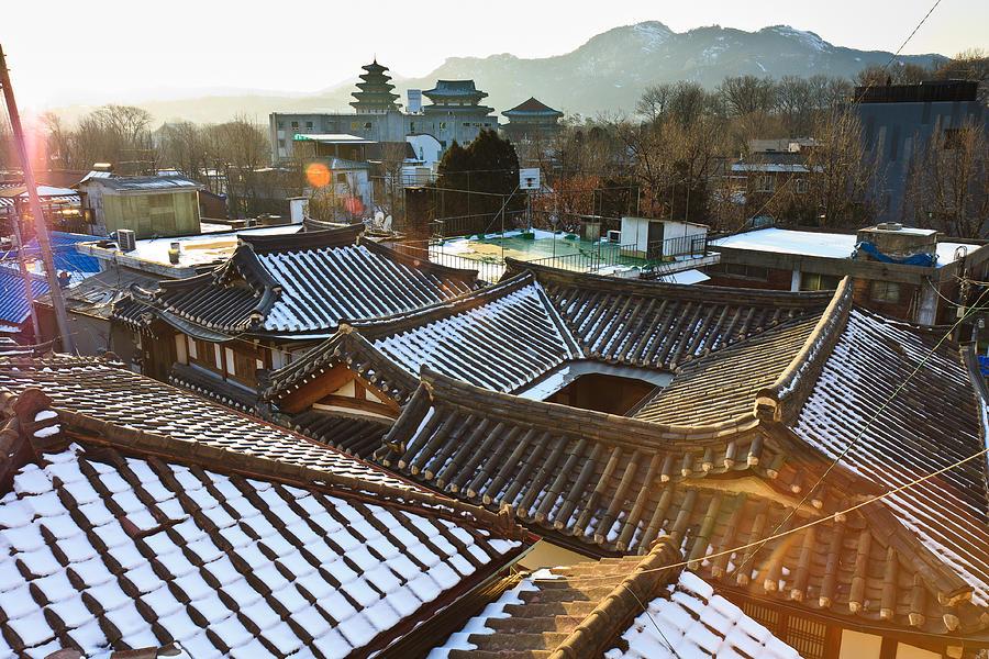Horizontal Photograph - Traditional Tiled Roof by SJ. Kim