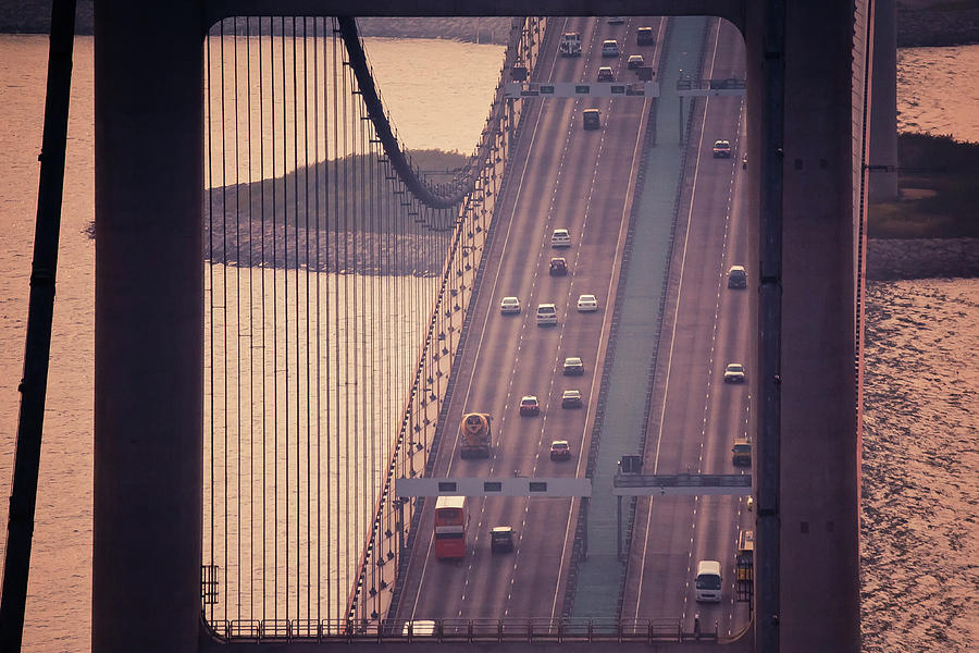 Horizontal Photograph - Traffic On Tsing Ma Bridge, Hong Kong, China by Yiu Yu Hoi