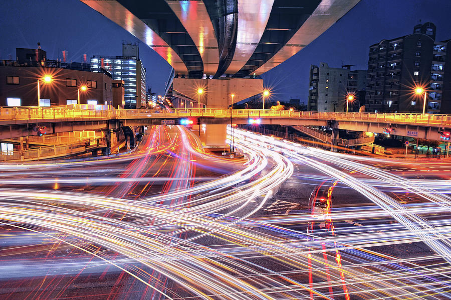 Horizontal Photograph - Traffic Trails by Y2-hiro