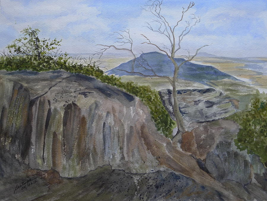 Rocks Painting - Trails End - Rocks Trees And Sky by Joel Deutsch