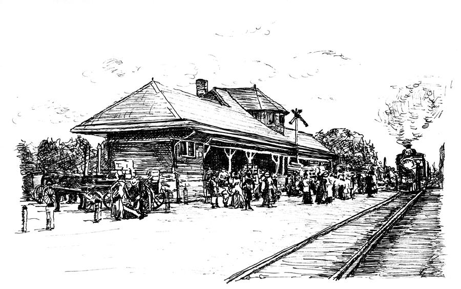 Train Station Drawing by Monica Cohen