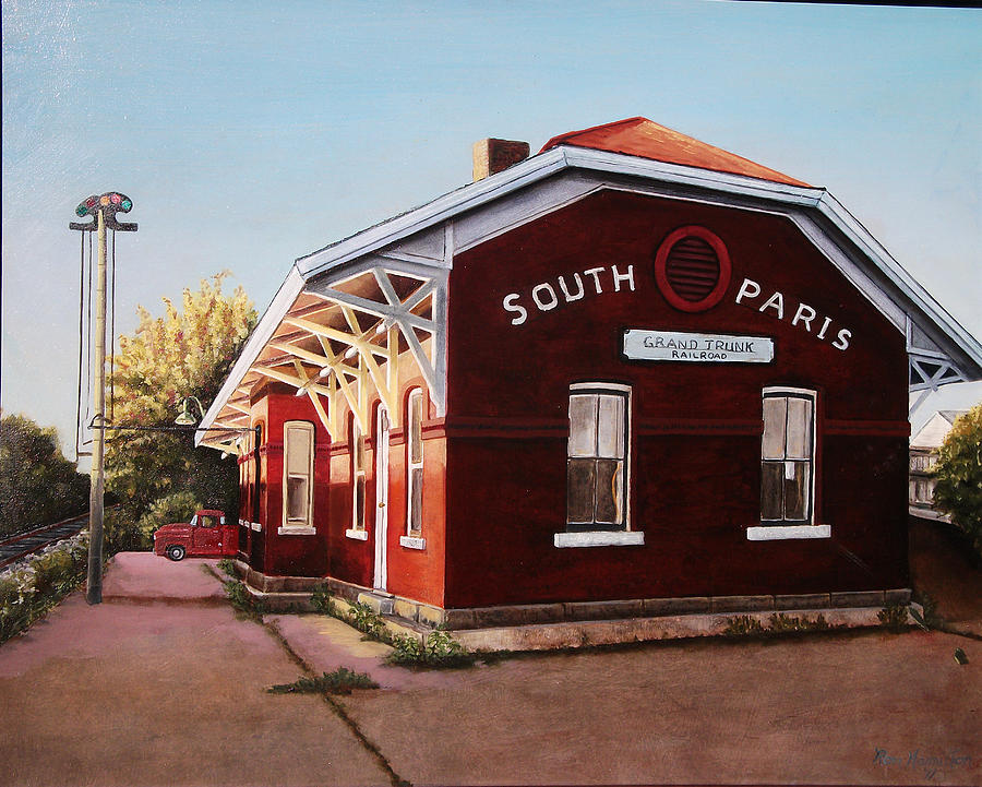 In Focus Painting - Train Station South Paris Maine by Ron Hamilton