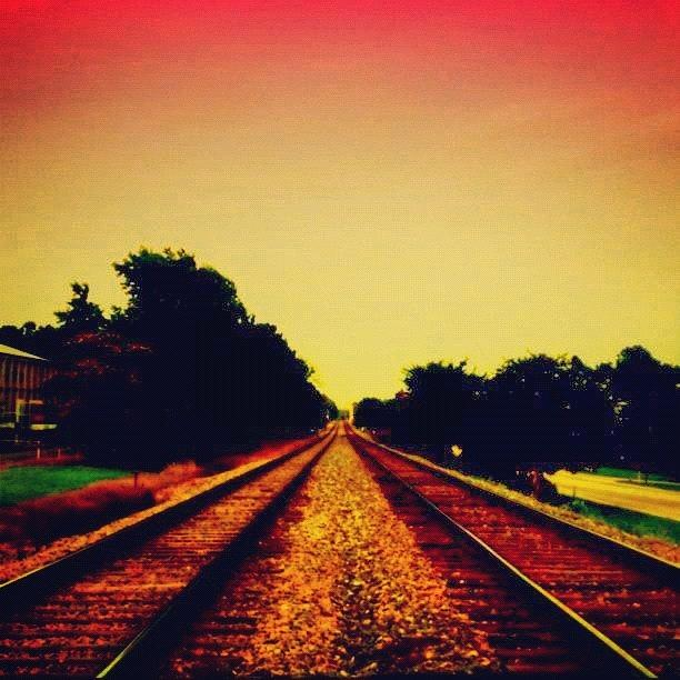 Danger Photograph - Train Tracks by Katie Williams