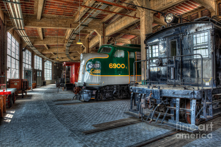 Trains Photograph - Trains - Engines Railcars Caboose In The Roundhouse by Dan Carmichael