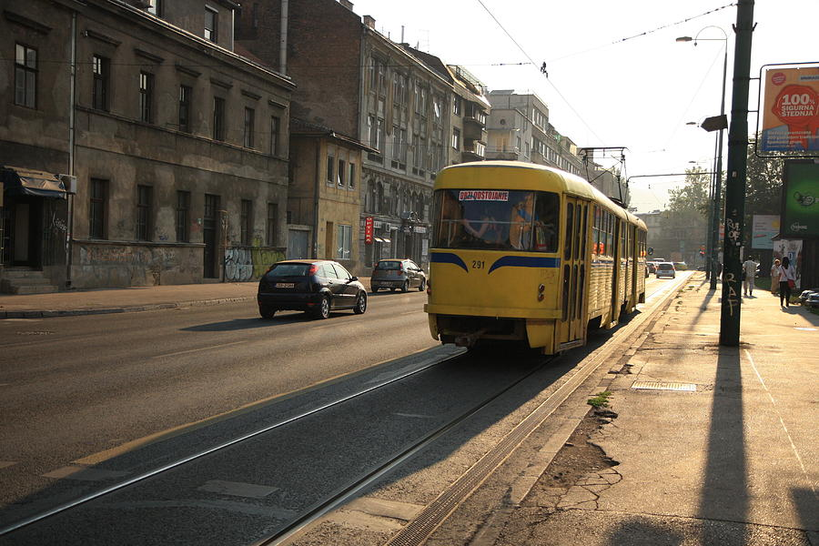 Sarajevo Photograph - Tramway In The Morning Light by Frederic Vigne