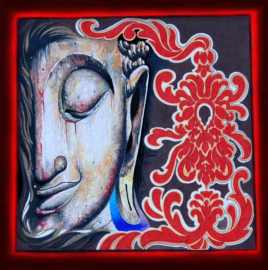 Courage Print Painting - Tranquility Buddha by Litos