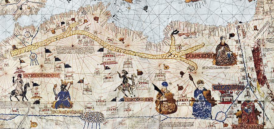 15th Century Photograph - Trans-saharan Caravan Routes 1413 by Sheila Terry