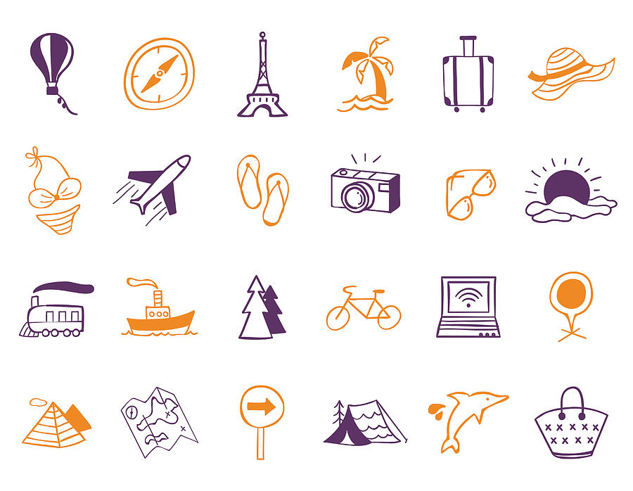 Travel Icon Set Digital Art by Eastnine Inc.