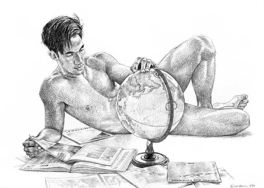 Globe Drawing - Traveler by Douglas Simonson
