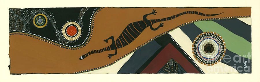 Acrylic Painting Mixed Media - Traveling Goanna by Pat Saunders-White