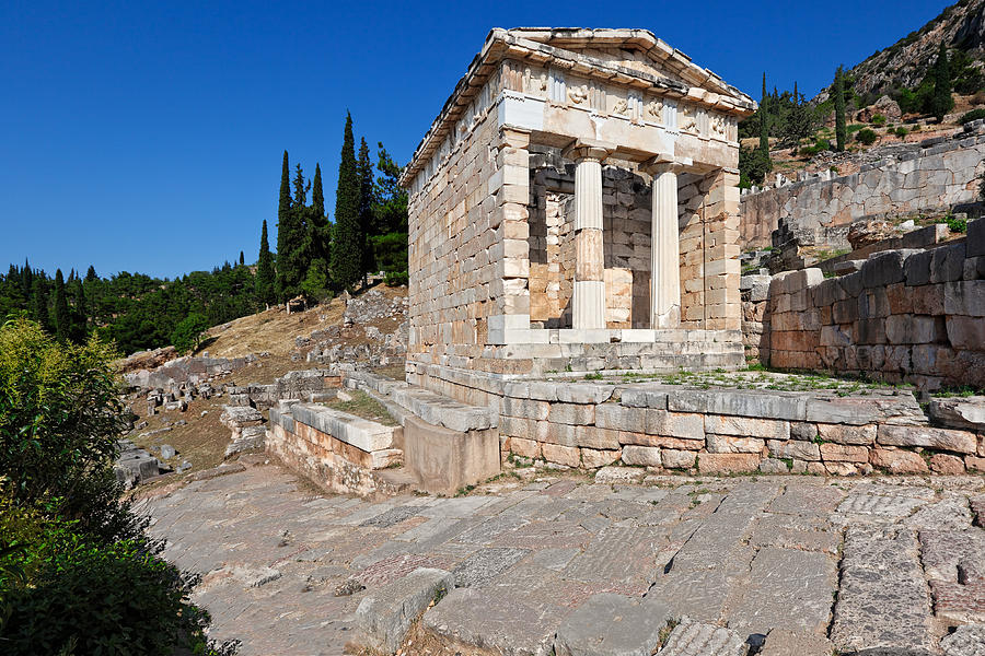 Ancient Photograph - Treasury Of The Athenians - Delphi by Constantinos Iliopoulos