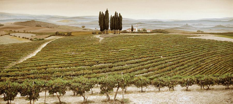 Vine Painting - Tree Circle - Tuscany  by Trevor Neal