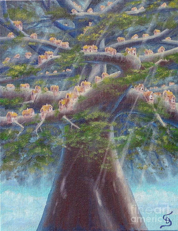 Sandru Painting - Tree Houses From Arboregal by Dumitru Sandru