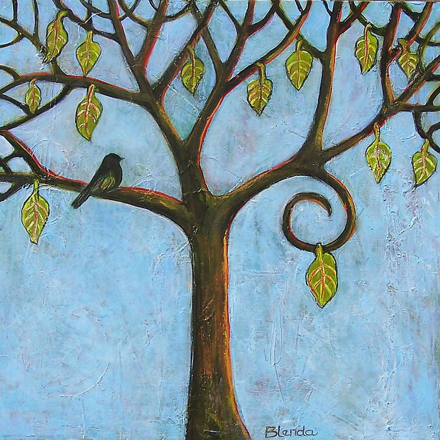 Art Painting - Tree Of Life Blue Sky by Blenda Studio