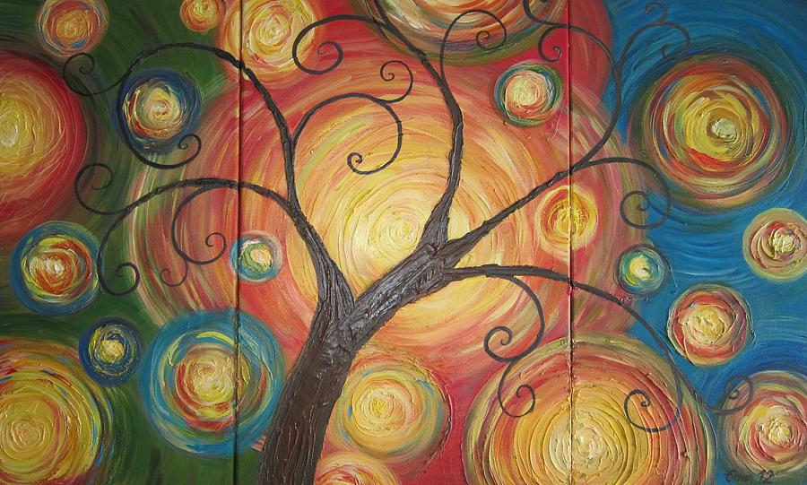 Abstract Painting - Tree Of Life  by Ema Dolinar Lovsin