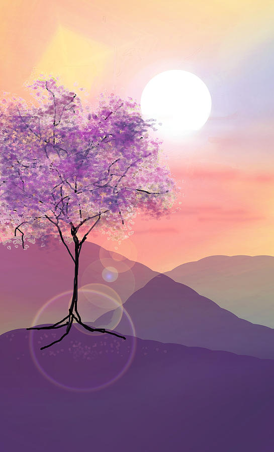Tree Digital Art - Tree On A Hill by Ginny Schmidt