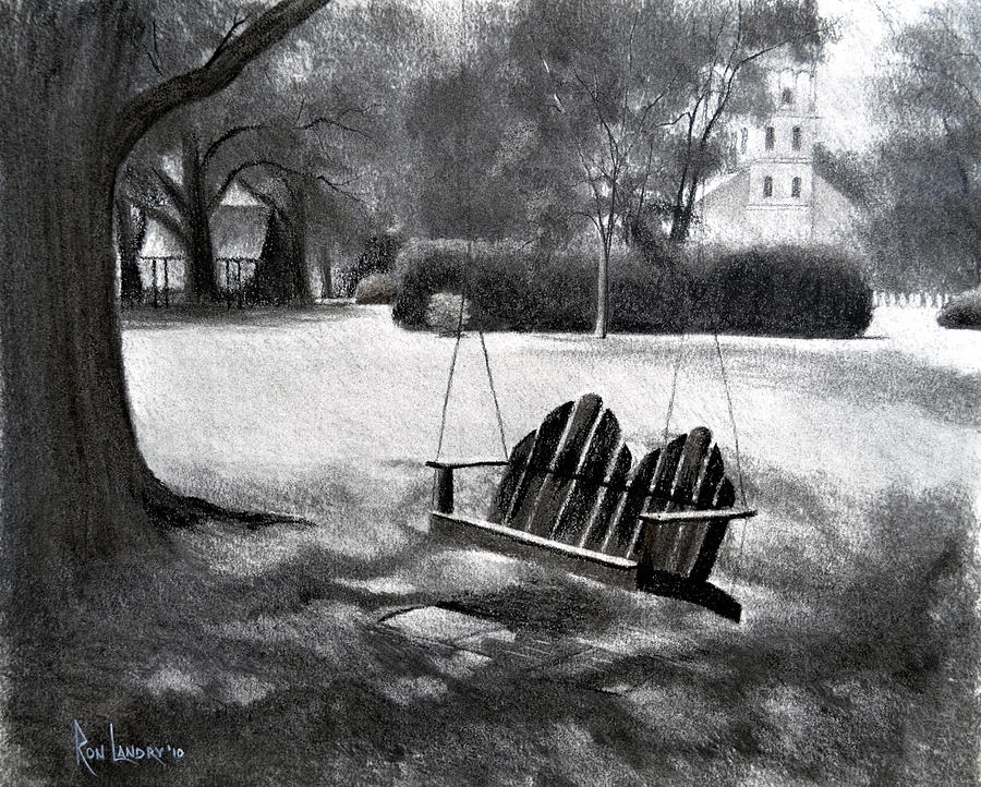 Tree Drawing - Tree Swing In Grand Coteau by Ron Landry