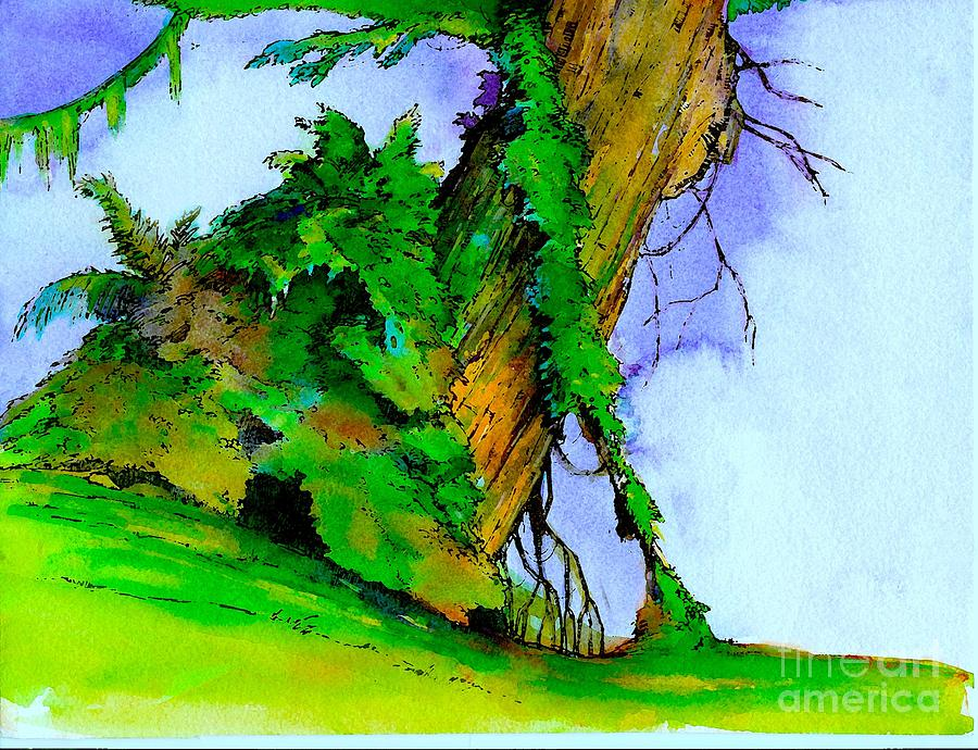 Watercolor Painting - Tree trunk and vines by Ruth Kongaika