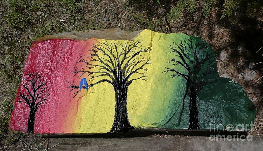 Tree Painting - Tree With Lovebirds by Monika Shepherdson