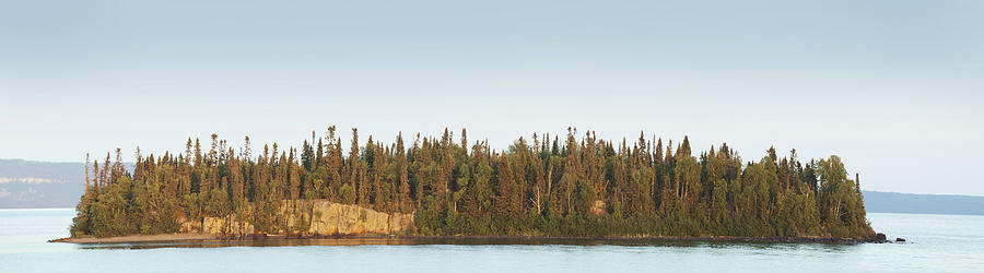 Tree Photograph - Trees Covering An Island On Lake by Susan Dykstra
