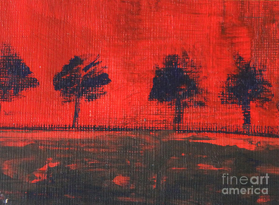 Red Painting - Trees by Mantra Y