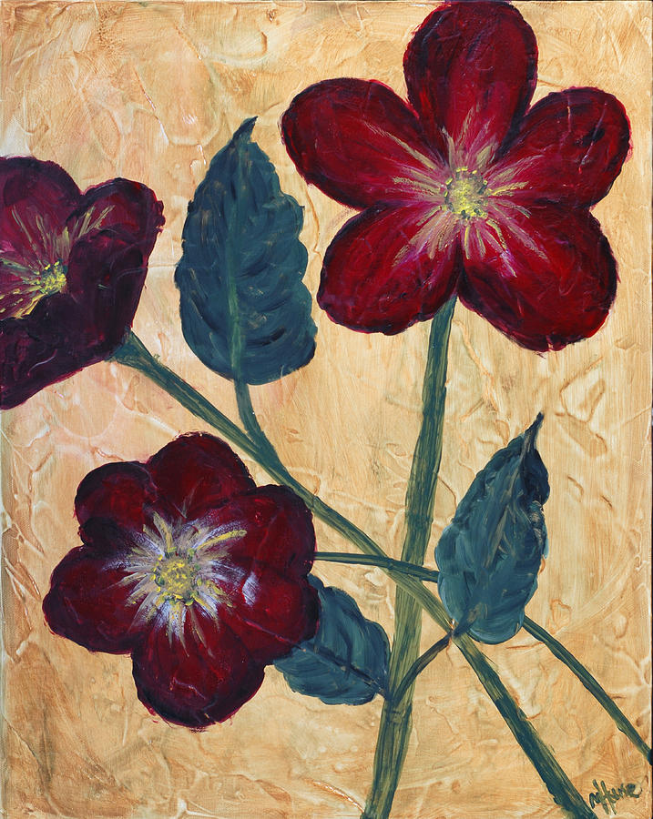 Flowers Painting - Tres Fleurs by Maureen House