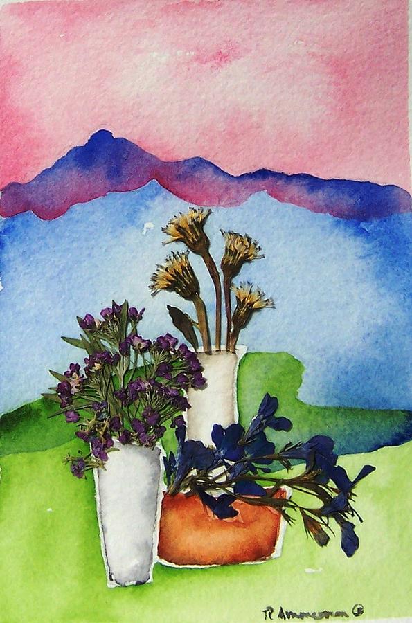 Southwest Painting - Tres Vasos by Regina Ammerman