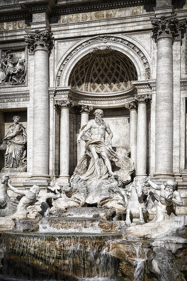 Ancient Photograph - Trevi Fountain Detail by Joan Carroll