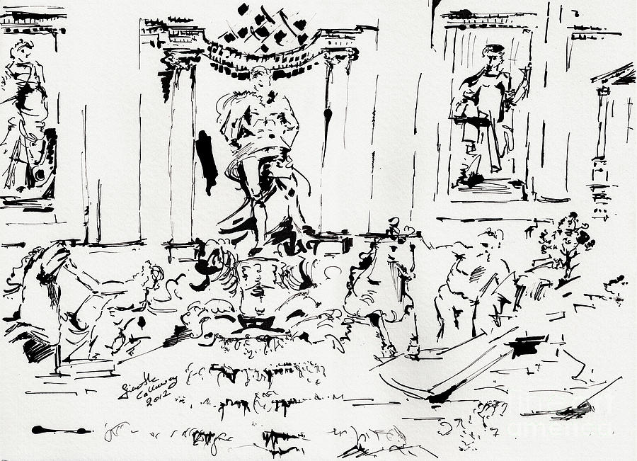 Rome Drawing - Trevi Fountain Rome Italy Ink Drawing By Ginette by Ginette Callaway