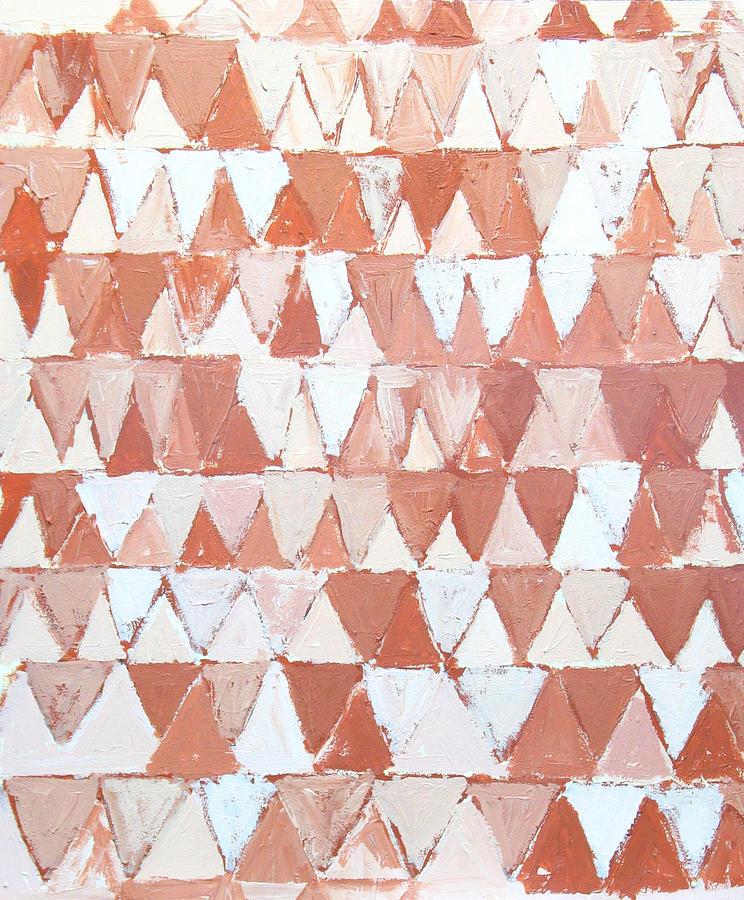 Geometric Pattern Painting - Triangular Sepia And White Waves by Kazuya Akimoto