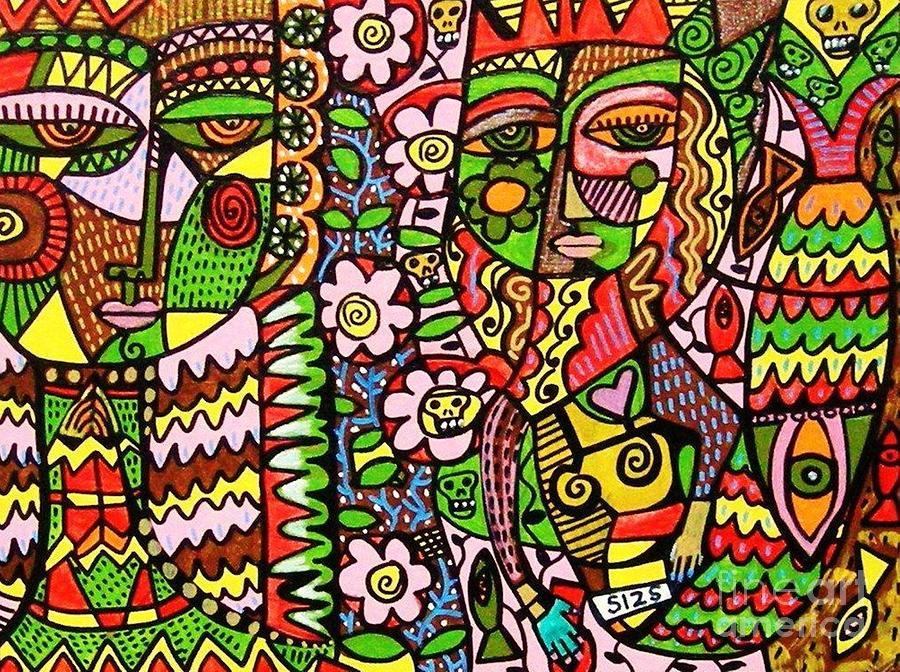 Tribal Angel And Skull Mermaid Painting By Sandra Silberzweig