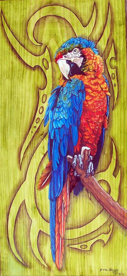Macaw Painting - Tribal Macaw by Diana Shively
