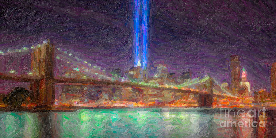September 11 Attacks Photograph - Tribute In Light Impasto by Clarence Holmes