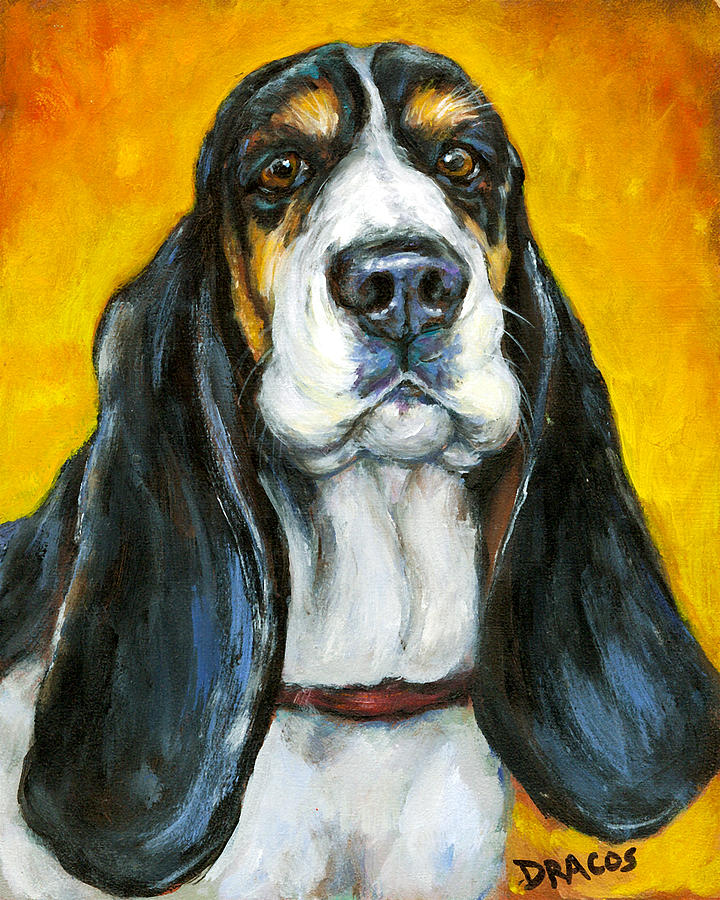 Basset Hound Painting - Tricolored Basset Hound On Gold by Dottie Dracos