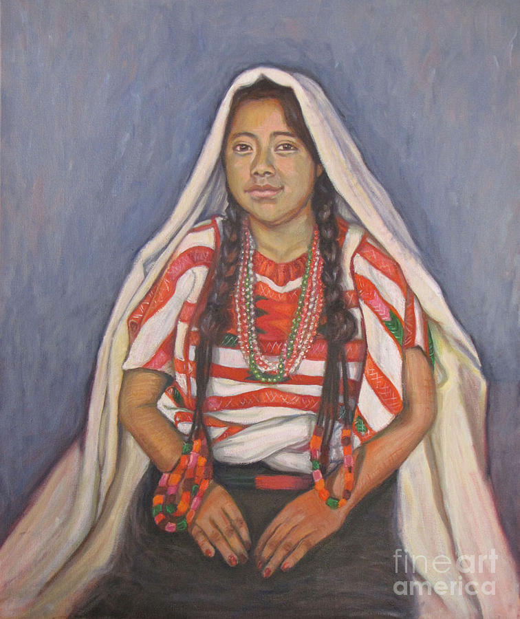 Triqui Young Woman Painting by Judith Zur