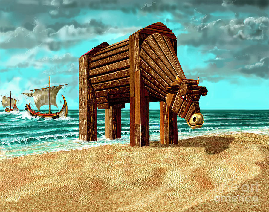 Beach Digital Art - Trojan Cow by Russell Kightley