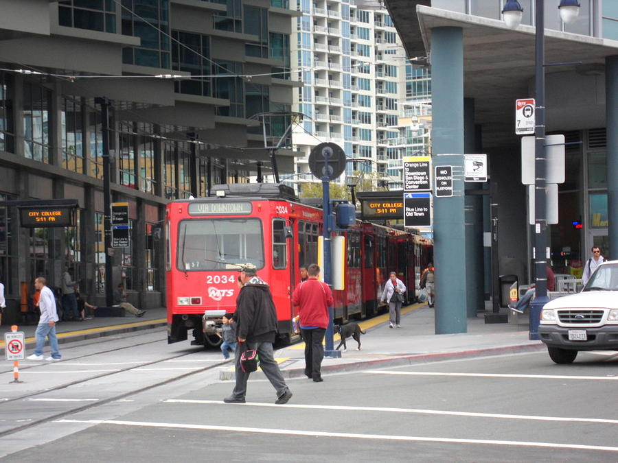 Trolley Photograph - Trolley In San Diego by Val Oconnor
