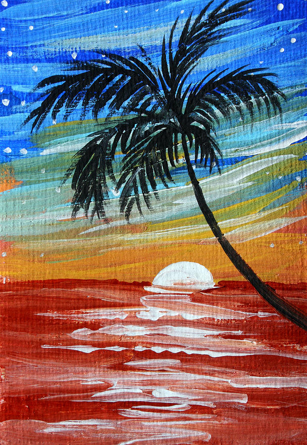 tropical abstract palm tree original plumeria flower painting