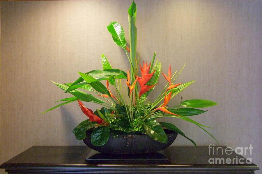 Floral Arrangement Photograph - Tropical Arrangement by Mary Deal